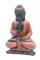 Boeddha zit met opgeheven hand – roodzwart